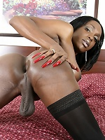 Black Tgirl Topaz is only 5 feet tall, but shes packing at least 9 half inches of pure, dark chocolate.