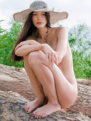 Horny chick outdoors