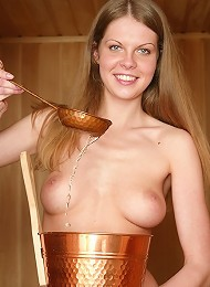 Licentious Layla Always Enjoys Spending Time In Sauna Being Naked And Playing With Colored Dildo. Teen Porn Pix