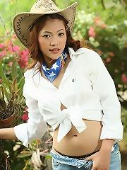 Breasty Cowgirl Nook Visine Woodland Strip