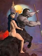 Dick girl gets exploited and slams 3D Demon