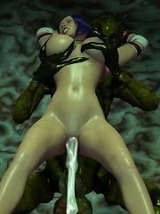 Bewitching 3D kitten slams pervert 3d Tentacle