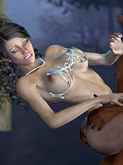 3D Porncraft Girl grab 3D Goblin and eats jizz