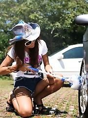 Yoko Yoshikawahot Asian teen is naked washing her car outside